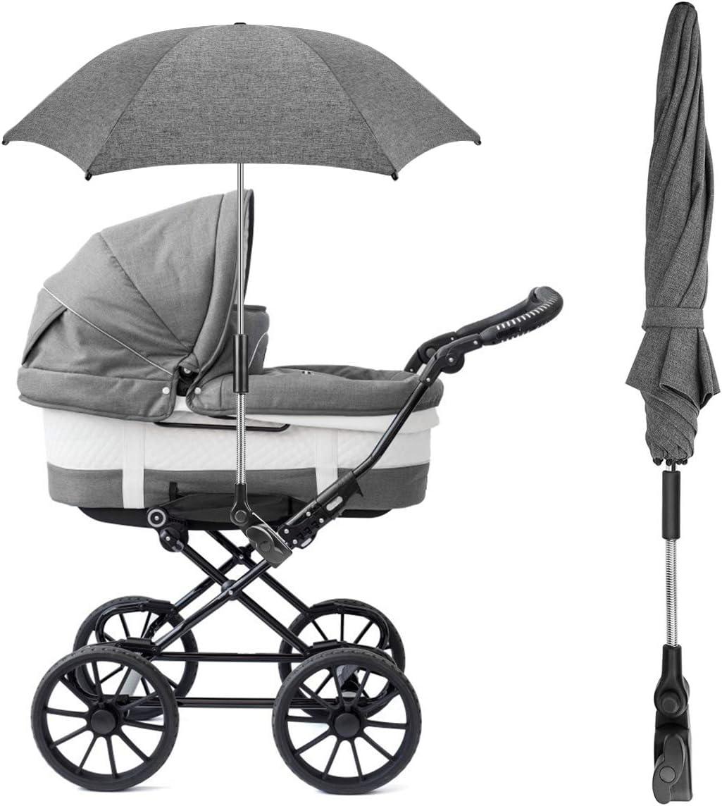 UV Sombrilla de protecci/ón solar para beb/és y beb/és con manija de paraguas para cochecito RIOGOO Sombrilla Sombrilla Sombrilla Universal 50 silla de paseo y Buggy-Grey silla de paseo