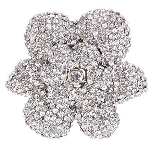 EVER FAITH Women's Full Austrian Crystal Gorgeous Flower Statement Ring Clear Silver-Tone