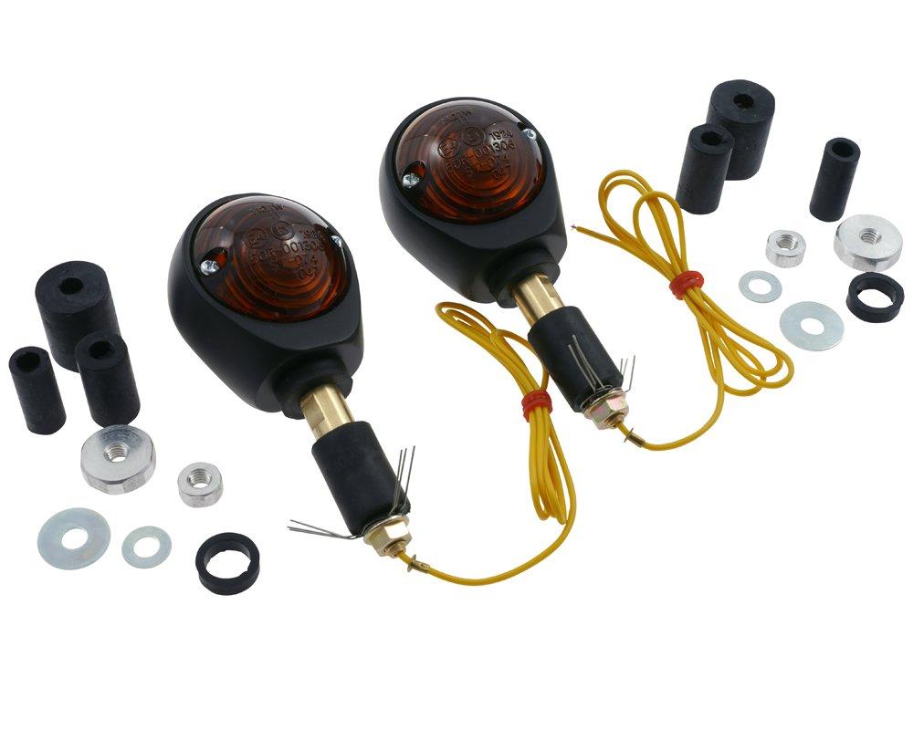 Quad matt schwarz Roller Blinker Paar OCHSENAUGE Motorrad get/öntes Glas