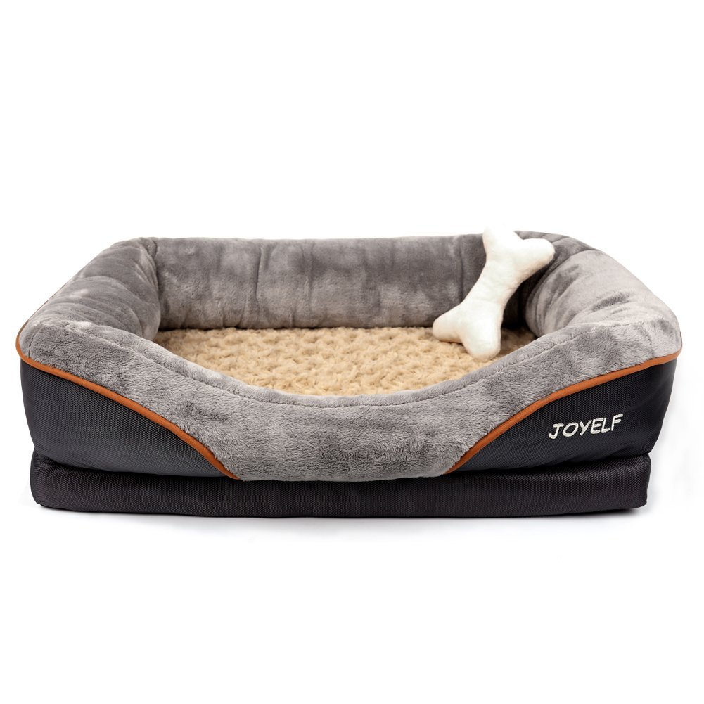 Medium-32\ JOYELF Medium Memory Foam Dog Bed, Orthopedic Dog Bed & Sofa with Removable Washable Cover and Squeaker Toys as Gift