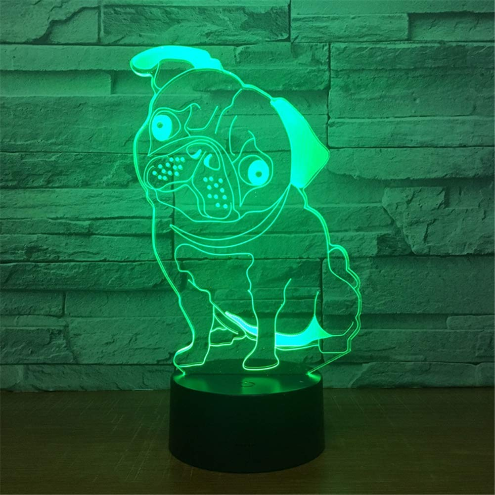 WBYD 3D Lamp LED Night Light Optical Illusion 7 Colour Changing USB Touch Button and Intelligent Remote Control Desk Table Lighting Nice Gift Home Office Decorations Toys(Pug)