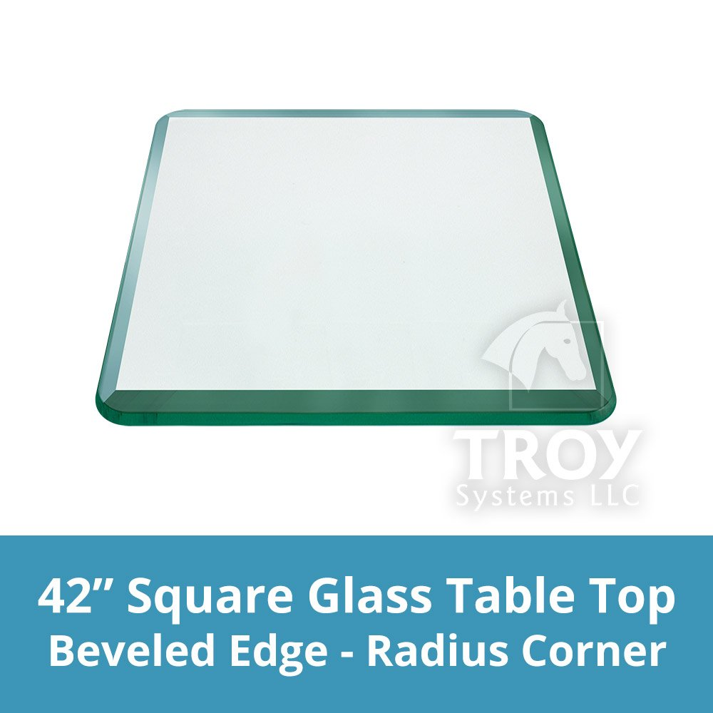 TroySys - 1/4'' Thick Square Glass Table Top (42'' x 42'') | USA Premier Glass Maker | High Strength Tempered Glass with Bevel Radius Edge | Great for Indoor or Outdoor Tables