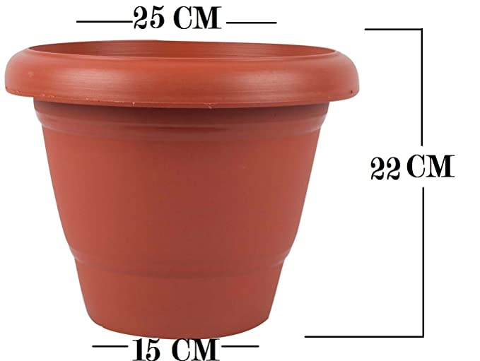 First Smart Deal 10 Inch Planter Pot With 8 Inch Tray Pack of 6 - Brown