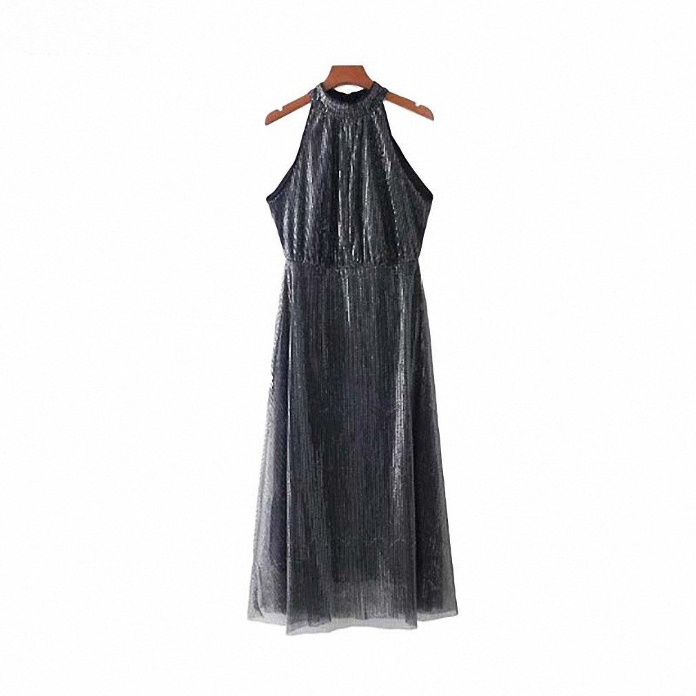 Womens Sleeveless Halter Sequin Knee Length A Line Dresses