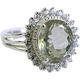 CaratYogi Genuine Green Amethyst Silver Rings Princess Cut Partywear Bezel Style for Women Sizes 5-12