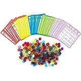 Yuanhe Bingo Game Set with 50 Bingo Cards and 500 Colorful Transparent Bingo Chip