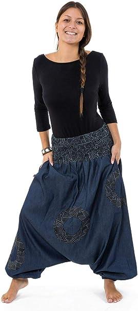 FANTAZIA Sarwel Jean Denim Hombre Mujer Cinturón Elástico Urban Ethnic – Talla S a XXXL – 100% algodón – Negro – Urban Street – Cómodo y original – creado en Francia, fabricación &eacu