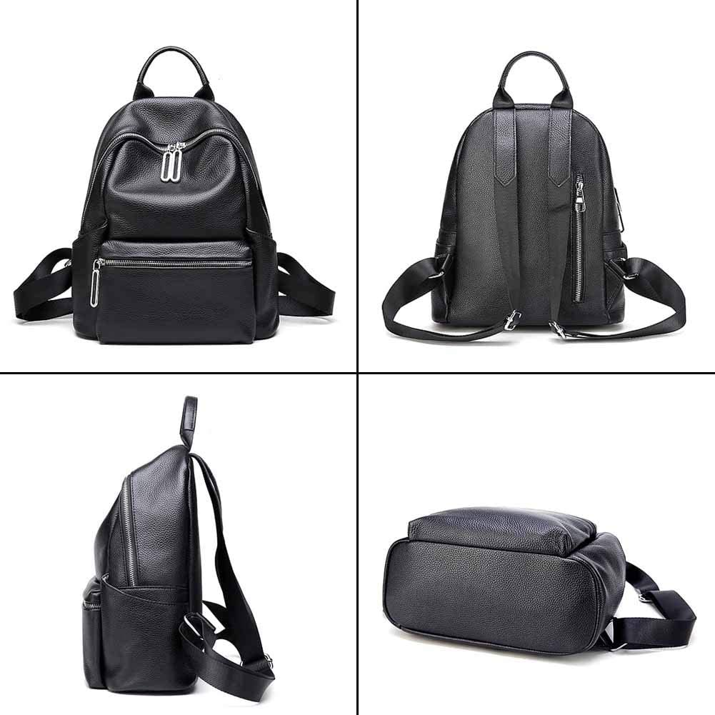 Yoome Casual Leather Backpack for Women Simple Design Handbag School Bookbag Purse