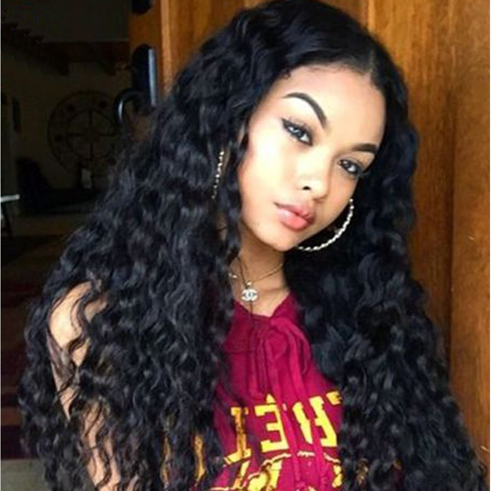 Lace Front Wigs For Women Long Curly Wavy Wig Thick Natural Looking Black Wigs Synthetic Heat Resistant Fiber Hair 20