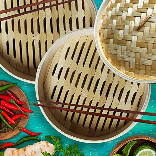Review Bamboo Oriental Gyoza Steamer 10 Inch with BONUS two Pairs Chopsticks, Premium Chinese Food Steaming Basket, 2 Tier for Vegetables and More by Sally Chen
