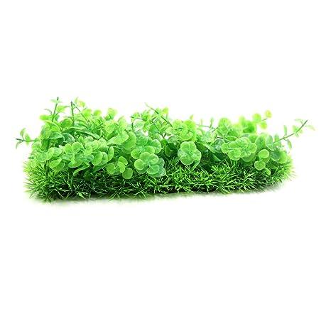 sourcing map Hecho de Plástico Verde Planta Hierba Paisajismo Decoración Accesorios Pecera de Peces de Acuario