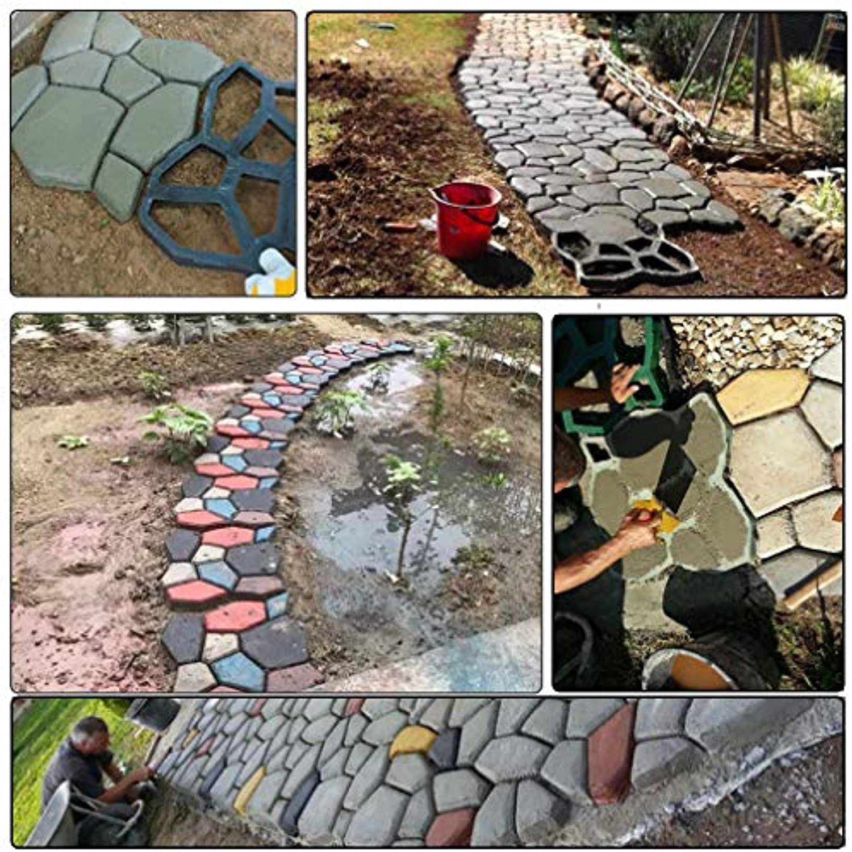 PACK OF 12 SuperThinker DIY Walk Maker Concrete Molds,Pathmate Stones Mold Paving Pavement Concrete Mould Stepping Stones Paver Walk Way for Garden, Patio, Yard(13''x13'')