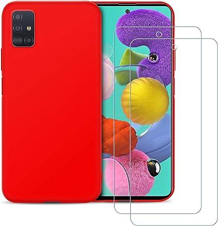 Funda Redmi Note 8T Carcasa Suave Silicona TPU, E-Lush Caso Ultra Delgado Flexible Gel TPU Goma Case Cover Cristal Templado Protector de Pantalla Funda para Xiaomi Redmi Note 8T Rojo 2 Pack
