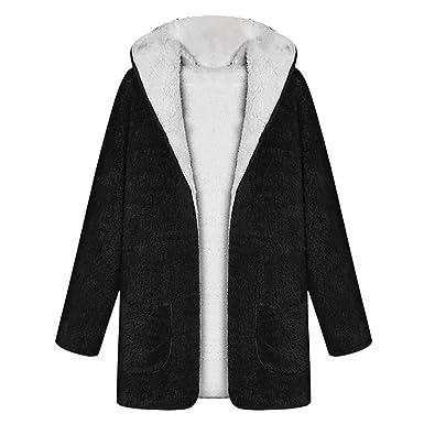 Luckycat Mujeres otoño Manga Larga con Capucha de Doble Cara Felpa Cardigan cálido Abrigo (Negro