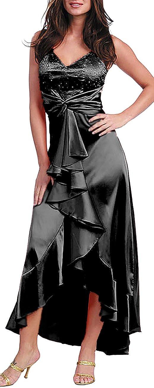 Nachtigall+Lerche Cocktailkleid Vokuhila-Kleid Tango Tanzkleid Latin Abendkleid 80er Jahre Satin
