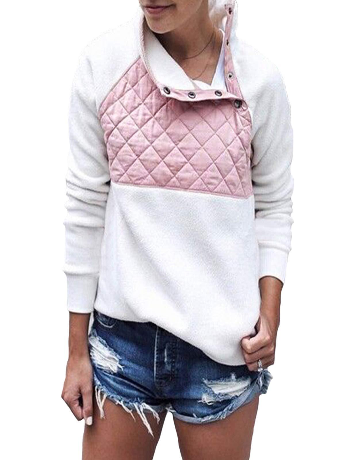 Gyozelem Womens Long Sleeve Sherpa Fleece Pullover Coat Sweatshirt Outwear Tops Sweater Medium Pink