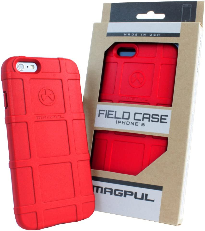 Phone Case Compatible with Apple iPhone 6/iPhone 6s, with TJS [Tempered Glass Screen Protector] Magpul [Field] MAG484-RED Polymer Protector Cover Retail Packaging (Red)