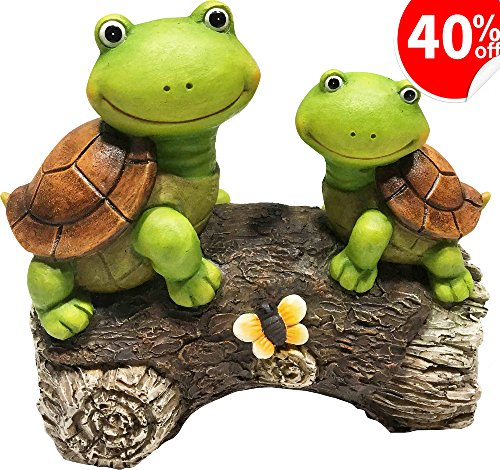 LA JOLIE MUSE Garden Statue Outdoor Figurines Turtles on a Log for Patio Lawn Yard Gardening Decor, (Garden Figurine Statue)