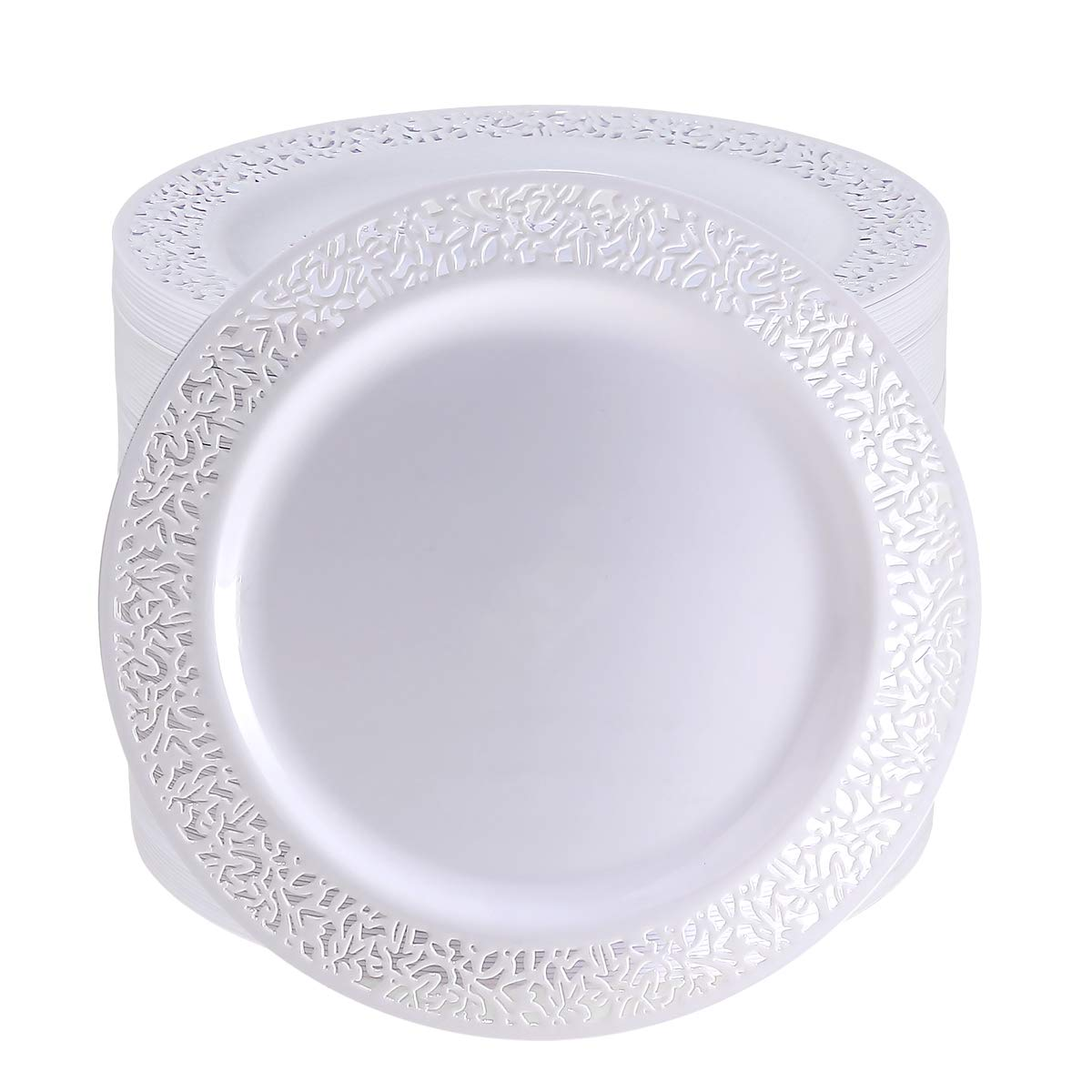 102 Pack 9 Inch White Plastic Lunch Plates, Premium Quality Round Disposable Plates for Dinner, Washable and Reusable Party Wedding Plates by I00000