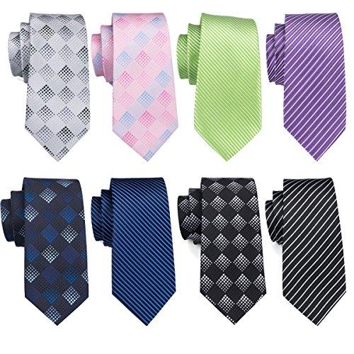 (Check Ties Set White Stripe Tie Silk Black Formal Business Necktie Wedding Woven)