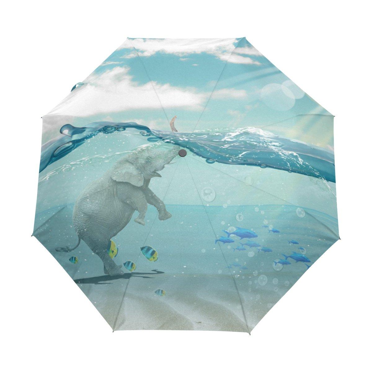 Senya Saobao防風と防雨トラベル傘with自動開いて閉じFolding Elephant and Fishesポータブル折りたたみ式太陽雨傘   B07FM7YD1N