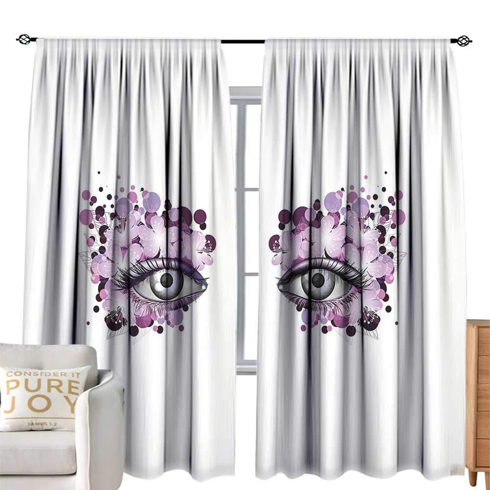 color03 W84 xL84  cobeDecor Insulated Room Blackout Curtain Eyelash Fantastic Eyes with Very Long Lashes Abstract Curly Leaves Nature Inspiration Pale Green Black Privacy Predection W84 xL84