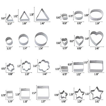 iRoundy Moldes para Cortar Galletas,Juego de 24 Moldes de Repostería de Acero inoxidable, Formas Geométricas, para Galletas, Fondant, Pasteles, ...