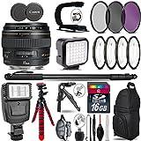 Canon EF 85mm f/1.8 USM Lens + Flash + LED Kit + Stabilizing Handle + UV-CPL-FLD Filters + Macro Filter Kit + 72 Monopod + Tripod + 16GB Class 10 + Backpack + Spider Tripod - International Version
