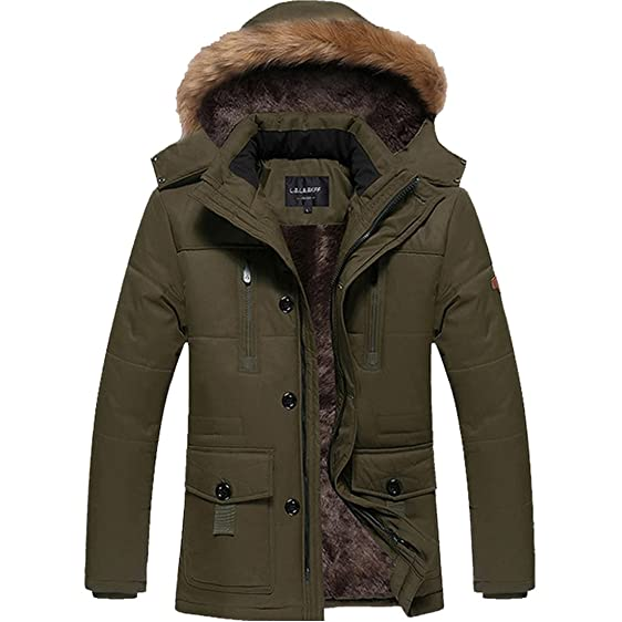 JYG Men's Winter Thicken Coat Quilted Puffer Jacket with Removable ...