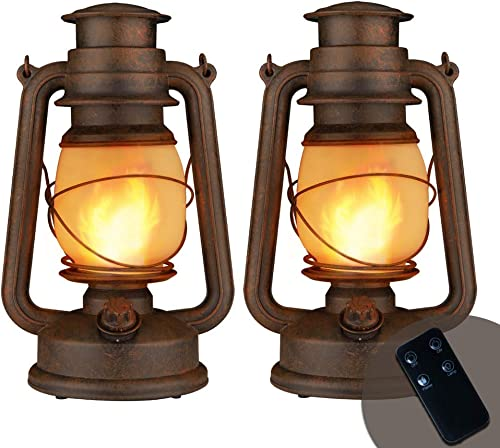 YINUO LIGHT LED Vintage Lantern, Realistic Dancing Flame Outdoor Hanging Lantern Battery Operated with Remote Control Two Modes LED Night Lights for Garden Patio Deck Yard Path 2 Pack Copper