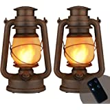 Dancing Flame Led Vintage Lantern, Outdoor Hanging Plastic Lantern Battery Operated with Remote Control Two Modes Led Night L