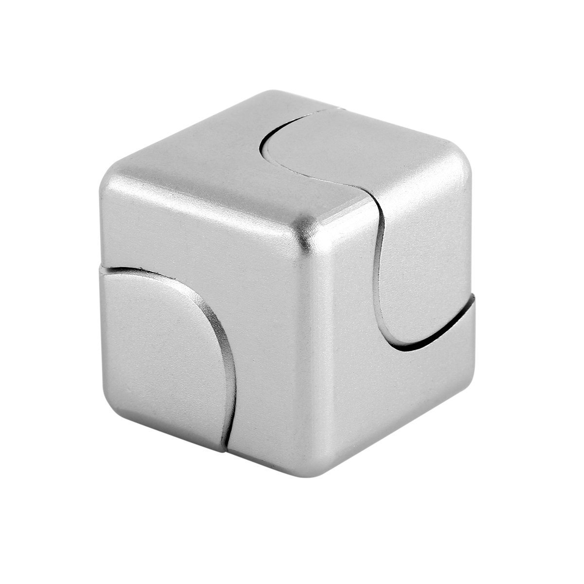 iSpnOmatic – Spinning Fidget Cube of Aerospace Grade Aluminium with Magnetic Support middle block fitted with Special R188 Steel Bearing comes in a Metallic Fidget Storage case for Stress Relief Fidget Toy (Silver Color) PCFX Americas