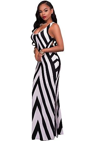 acbeb6be4 Señoras blanco y negro Diagonal rayas tiras espalda Maxi vestido de verano  vestido de jersey largo