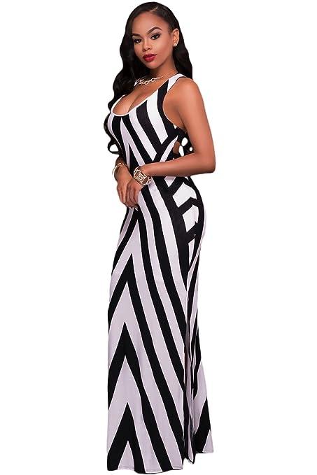 Señoras blanco y negro Diagonal rayas tiras espalda Maxi vestido de verano vestido de jersey largo