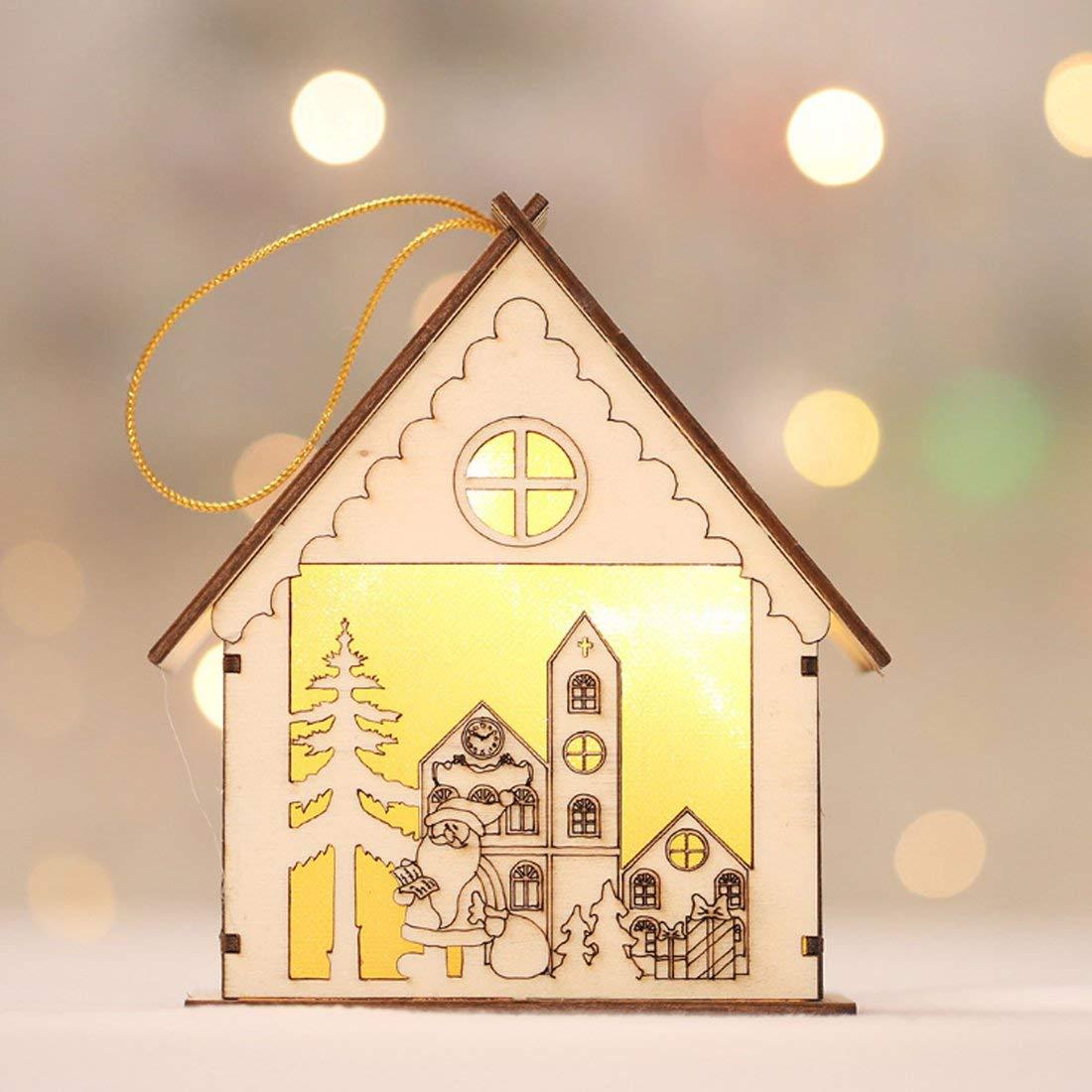 Formulaone HAPPYXMAS Nuove Decorazioni Natalizie Luminose Casette in Legno Creative Cartoon Lanterne in Legno casetta Neve casa Natale casetta Luminosa casetta