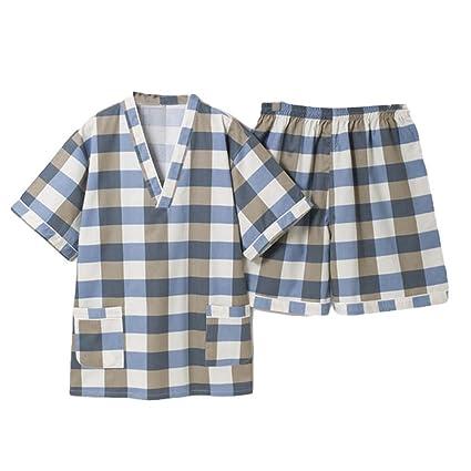 Blancho Bedding Hombres Pijama Traje del Patrón del Cheque del Cortocircuito del Verano Pijamas Khan Ropa