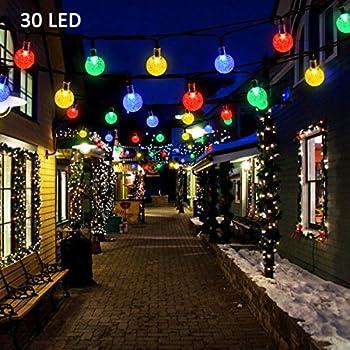 Vmanoo Christmas Solar Powered Globe Lights,30 LED (19.7ft) Globe Ball Fairy String Light for Outdoor, Xmas Tree, Garden, Patio, Home, Lawn, Holiday, Wedding Decor, Party 1-Pack (Multi-color)