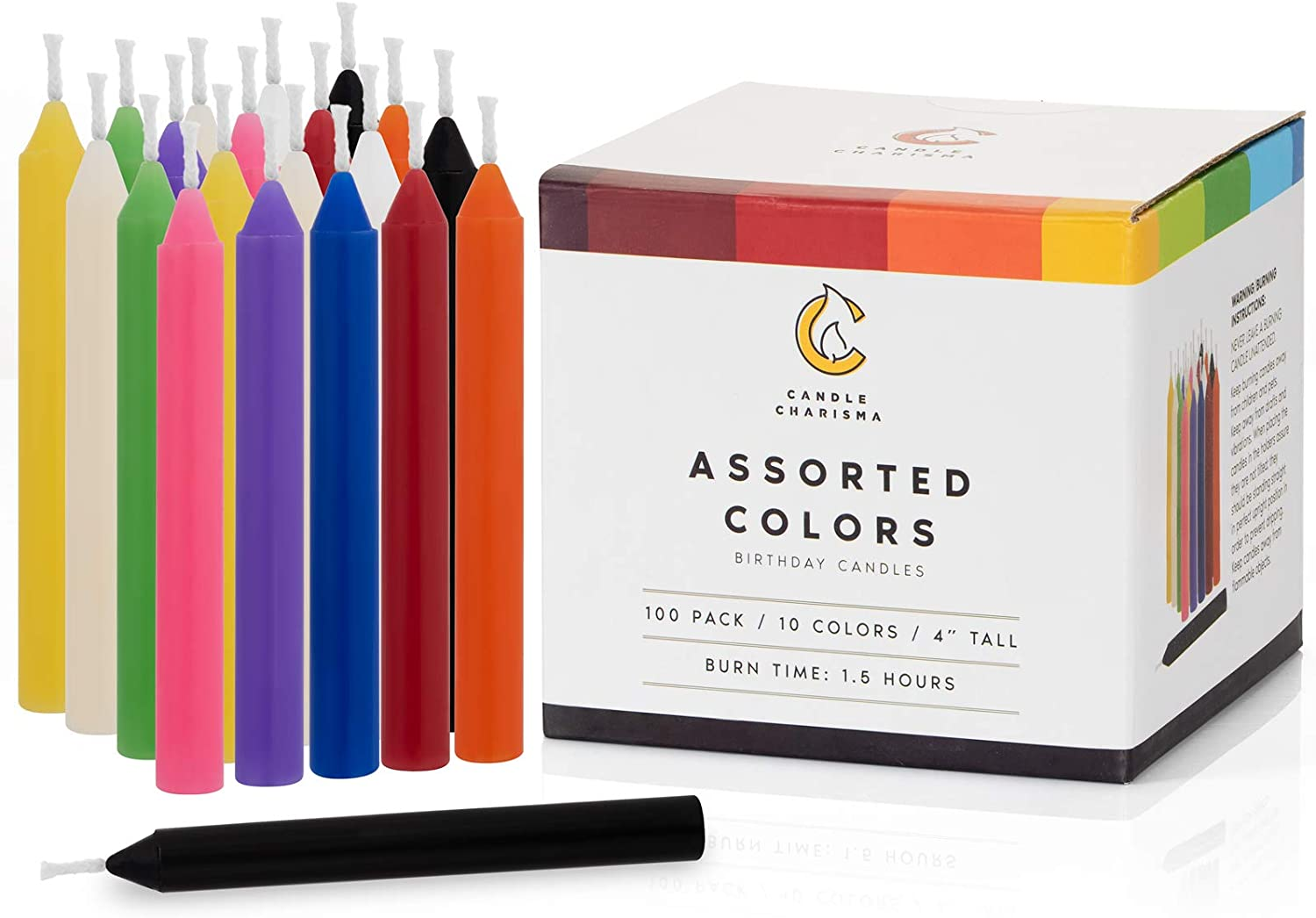 100 Assorted Colors Spell Candles Small Dripless for Chimes, Magic, Congregation, Vigil Candlelight, Rituals, Party Decorations (10 Colors) 4 Inches Tall