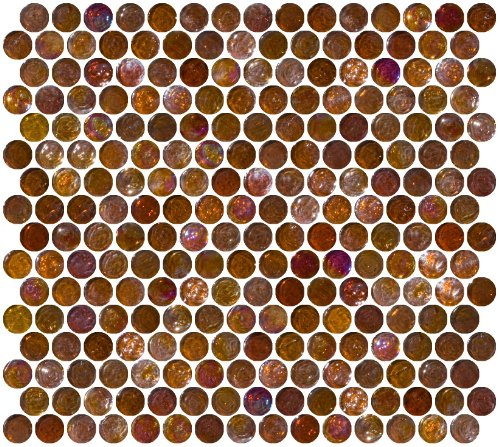 (Susan Jablon Mosaics - Penny Round Root Beer Brown Iridescent Glass Tile)