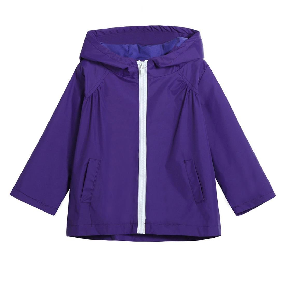 Nevera Baby Toddler Boys Solid Color Zipper Jacket Windproof Hood Coat Outerwear (5T, Pruple) by Nevera