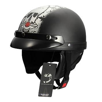 CARCHET Casco de Moto Motocicleta Helmet Gafas de Protección Color Negro Calavera Blanco