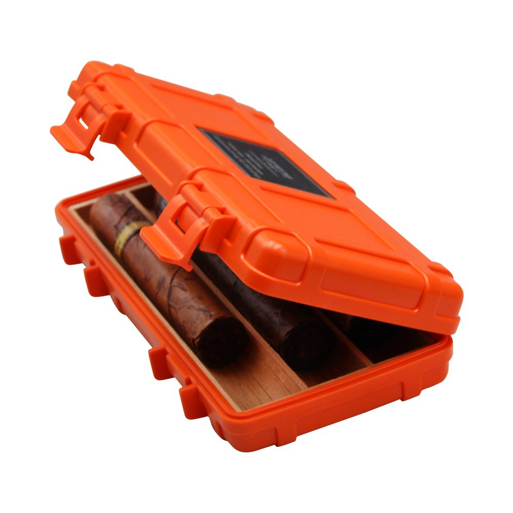 Jifeng Travel cigar humidor,cedar wood waterproof riot band cigar holder cigar box (orange)