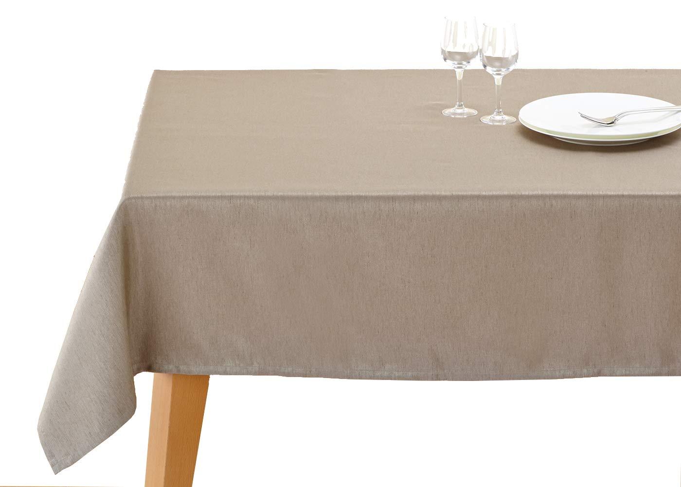テーブルクロス ブルーミング中西 撥水加工 (日本製) 長方形 無地 シノノメ 柄 [シワになりにくい] 140×200cm ライトブラウン  ライトブラウン B00PRVO8D2