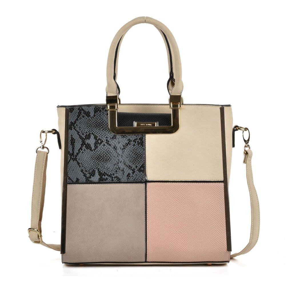 Sally Young Leather Handbags Purses Shoulder Bags Top Handle Handbag-Grey