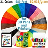 3D Pen Filament Refills - Premium Set of 21 Colors 689 feet Bonus 200 Stencils e-Book Including 6 Glow in The Dark Best 1.75mm PLA Filament Pack for 3D Pen for Kids and Adults