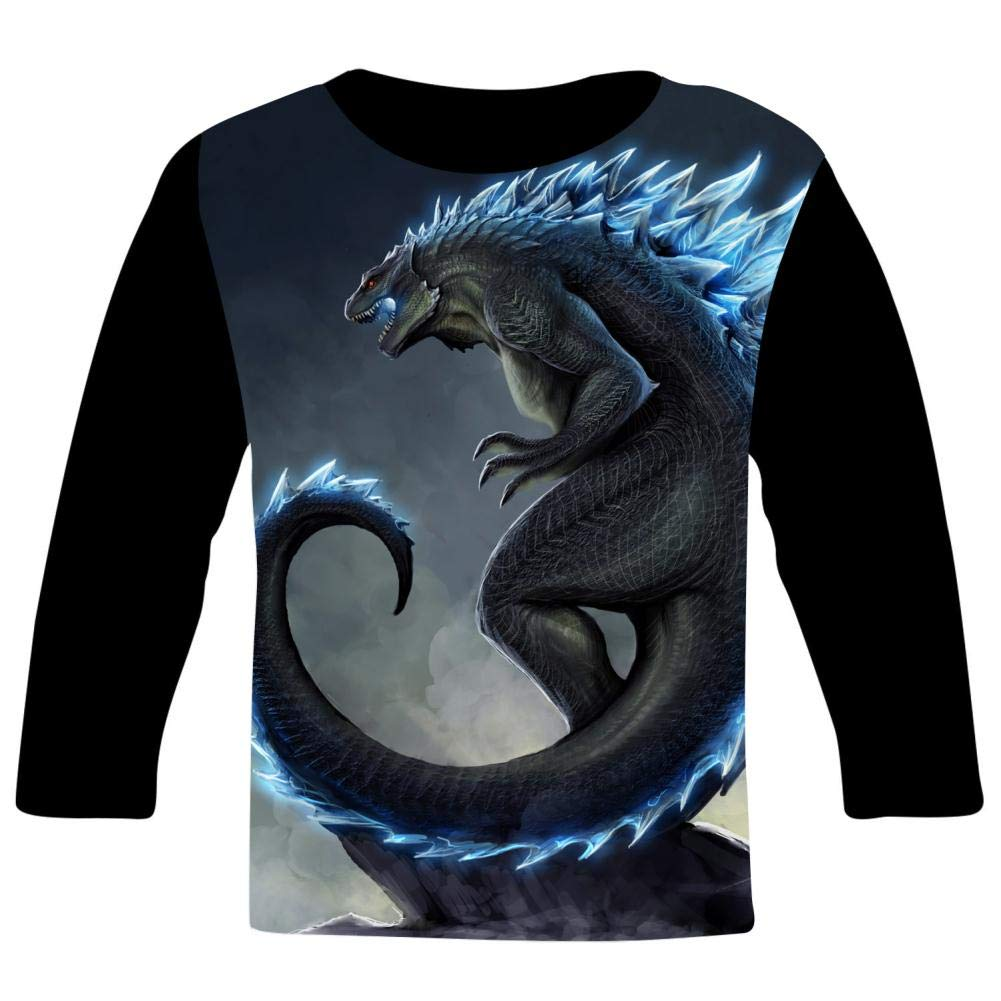 Cool Ice G-od-Zill-a Kids T-Shirts Long Sleeve Tees Fashion Tops for Boys//Girls