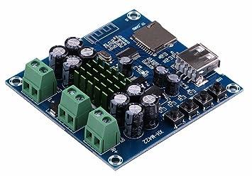 Amplificador digital Bluetooth junta, canal dual de 50W+50W receptor estéreo de audio Hifi amplificadores de potencia de la placa del módulo de apoyo U ...