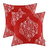 Pack of 2 CaliTime Throw Pillow Covers 18 X 18 Inches, Vintage Floral, Red