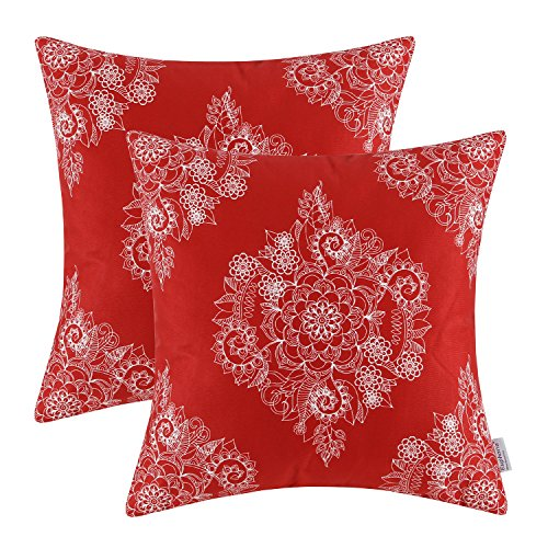 CaliTime Pack of 2 Cozy Throw Pillow Cases Covers for Couch Bed Sofa Manual Hand Painted Print Vintage Mandala Floral 18 X 18 Inches Scarlet Red - Futon Printed Cover