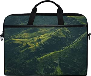 Protective Shoulder Bag Sleeve Laptop Case Briefcase Landscape Aerial View Forest Farm Trees for 15 Inch Notebook Computer Waterproof Protable